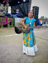 Vanessa wearing traditional clothes at the fest