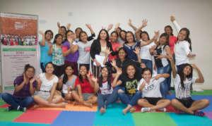 Young women happy to finish narrative class
