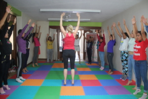 Young women in yoga session
