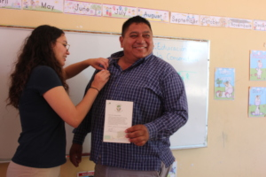 Receiving the official Mangrove Guardian pin