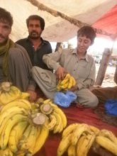 At work - bagging bananas