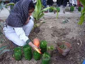 a student uses a spray bottle to nurture her plant