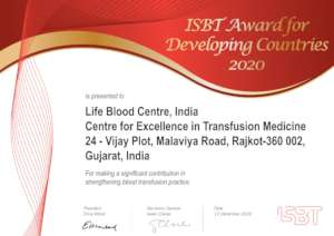 Excellence Certificate awarded by ISBT, Amsterdam