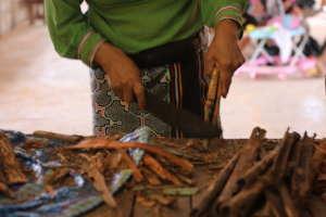 Chopping medicinal barks