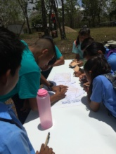 Students learning compass navigation