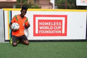 Satish representing India at Homeless World Cup'19