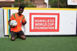 Satish at the Homeless World Cup