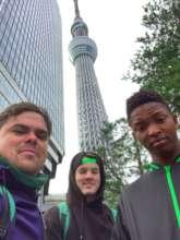 Gymnast Siyabulela (R) and coach Lee (L) in Tokyo