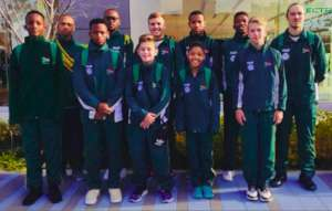 Siyabulela third from right in SA gymnastics team