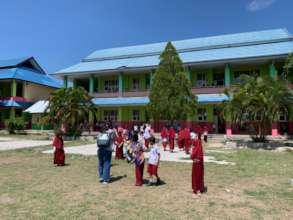 The school teachers exploring escape routes