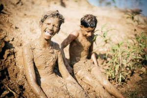 Vishal enjoying his mud bath.