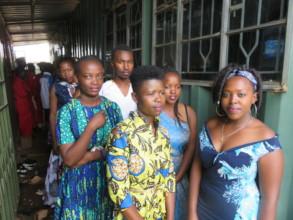 Fashion and fabric design students at graduation