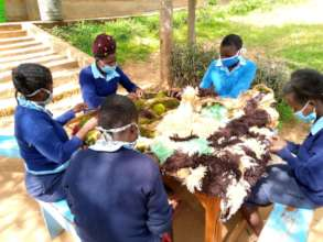 Students making mats in Kitui