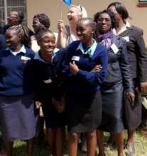 Girls' happy moments with their teachers