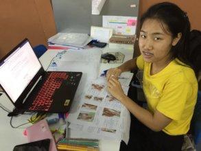 Nursing student Naan studying anatomy
