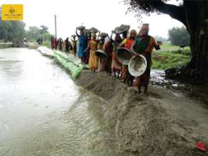 Community building a Check dam