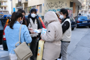 Our Athens Streetwork team during a distribution