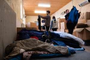 LHR volunteers organising donations on Lesvos