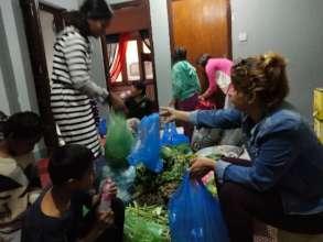 distributing essential supplies