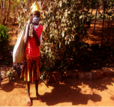 Girl carrying supplies