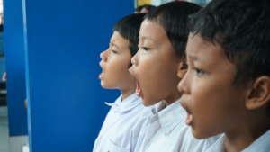 Bina Pusaka Children singing national anthem