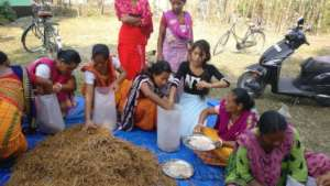 Women Mushroom Growers working in the production.