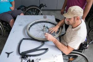 Wheelchair repairs at Motivation Romania