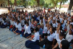 95 girls received bikes at this school in Pursat!