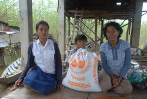 Sopea, her mother and little brother