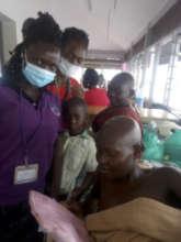 Volunteers Vicky & Vicky care for Nampija
