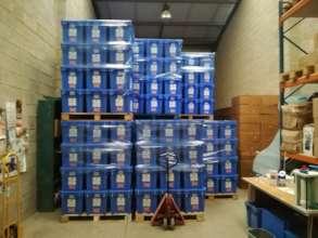 Aquaboxes awaiting transport to Yemen