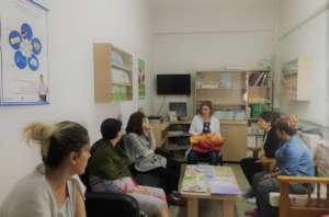 A postnatal class at the maternity hospital