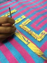 3D border, strip cut in aari with pink thread