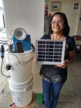 Rosy displays 10 Watt solar kit and water filter