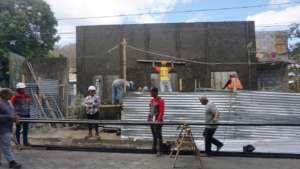 Photo taken Feb 29, preparing beams for roof