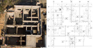 Drone photo compared to architectural plan