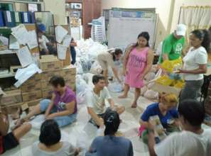 Partners packed food for affected families