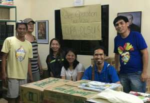 Representatives of partners received relief packs