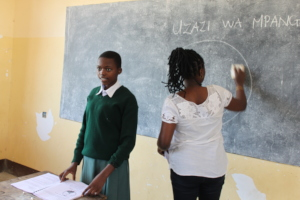 A peer leader teaching other girls HE.