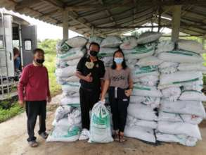Manager Aom with our biochar stock