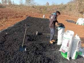 Bagging dry biochar
