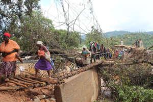 More Zimbabweans crossing the makeshift bridge