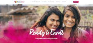 The Teach Her homepage featuring M:U student Maya!