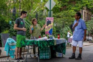 Tabling at a street fair with a green theme
