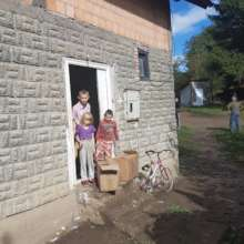 Food packages arriving at the homes in Bosnia.