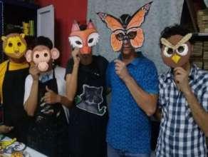 artists showing off animal masks