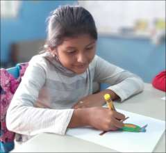 girl  prepares for drawing contest