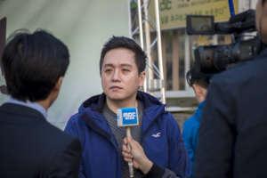 Representative Lim, interviewing