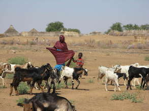 Beneficiaries care for their Goats