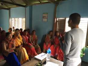 Sudarshan during a motivation speech in a village